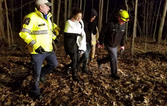 Aurelia Stephan of Cheektowaga, left and Adam Kassem, also of Cheektowaga, were rescued by State Park Police and other first responders Sunday from the Letchworth Gorge after their dogs got loose. (Photo courtesy of Bob Lonsberry WHAM News 1180)