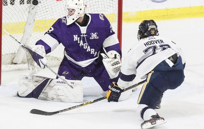 Matt Hoover scored twice for Canisius in a 2-1 win over Niagara in HarborCenter. (James P. McCoy/Buffalo News)
