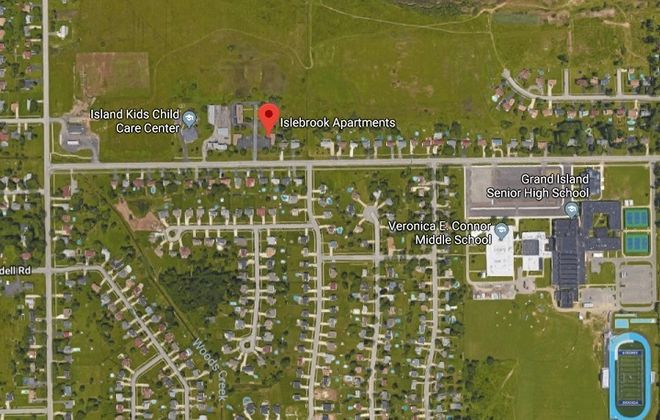 A Google image shows the location of the Islebrook Apartments on Ransom Road, Grand Island.