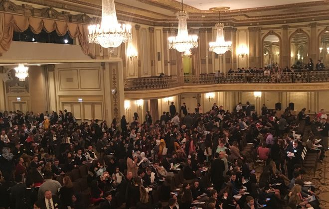 Teens gather in Chicago for the 2018 Model United Nations conference.