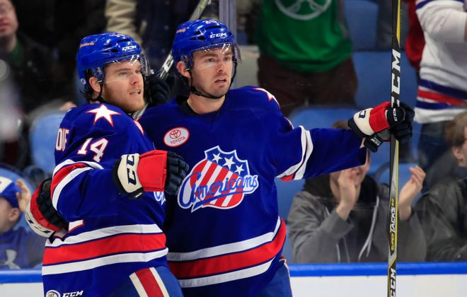 Sean Malone (left) scored for the Amerks Wednesday night. (Harry Scull Jr./Buffalo News)