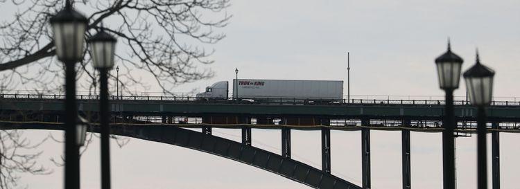 A truck passes over the Peace Bridge in January. (Sharon Cantillon/Buffalo News)