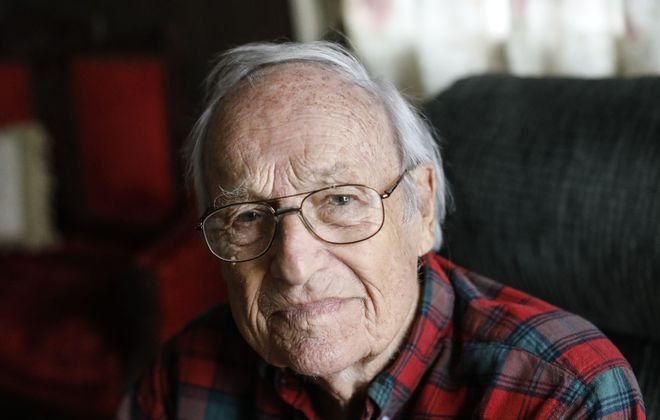 "When America entered World War II,  Edward B. ""Andy"" Enterline felt compelled to enlist in the Marine Corps and follow in the footsteps of his uncle, as well as other young men who already were fighting. (Derek Gee/Buffalo News)"