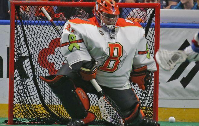 Buffalo's goalie Alex Buque makes a save against the Toronto Rock this season. (Robert Kirkham/Buffalo News)