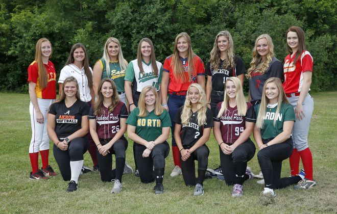 The 2018 All-WNY Girls Softball Team starting in the front from left, Abby Stone (Akron), Lillian Wozniak (Orchard Park), Miranda Fish (Williamsville North), Madisyn Pepke (Lancaster), Kayla Raymond (Orchard Park) and Jessie DiPasquale (Nardin). Back from left, Alyssa Ramarge (Olean), Emily Hanlon (Dunkirk), Anilese Kelly (West Seneca East), Riley Crum (Lew-Port), Brooke Plonka (Iroquois), Olivia Kincanon (Lancaster), Mackenzie Quider (Niagara Wheatfield) and Rachel Steffan (Williamsville East) on Wednesday, June 20, 2018.  (Robert Kirkham/Buffalo News)