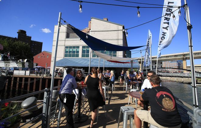 The Liberty Hound is popular during warm weather because of its patio space on the water. (Harry Scull Jr./Buffalo News)
