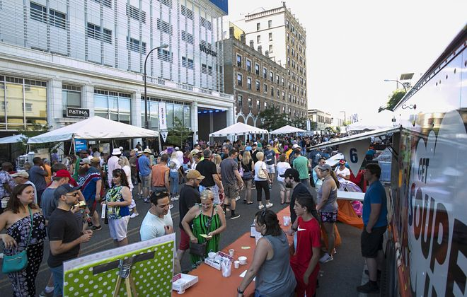 Crowds enjoy food from 53 restaurants at the Taste of Buffalo on Saturday, July 7, 2018. (Shuran Huang/Buffalo News)