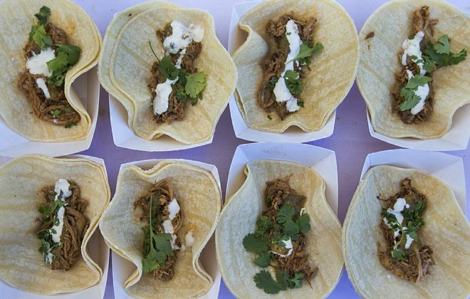 Guajillo tacos from SEAR are Andrew Galareau's favorite items at Taste of Buffalo this year. (Shuran Huang/Buffalo News)