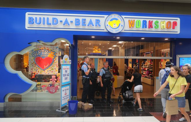 """Long lines at Build-a- Bear at the Walden Galleria, where a """"pay your age"""" promotion went horribly awry. (John Hickey/Buffalo News)"""