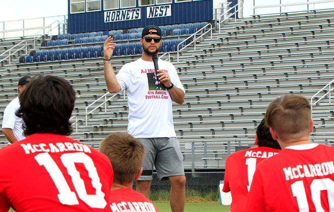 AJ McCarron at his annual football camp. (Harry Scull Jr./Buffalo News)