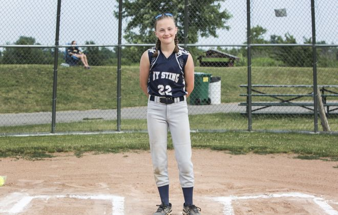 Abby Torgerson, a 14 year-old player from the Western New York Sting, will compete in Washington during the Pitch, Hit and Run competition. (Shuran Huang/Buffalo News)