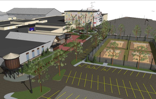 An architect's rendering of the renovated Summit Park Mall, with Big Thunder Brewing Co. and volleyball courts in the foreground and fields houses in the back. (Courtesy Jonathan E. Bennett Architecture)