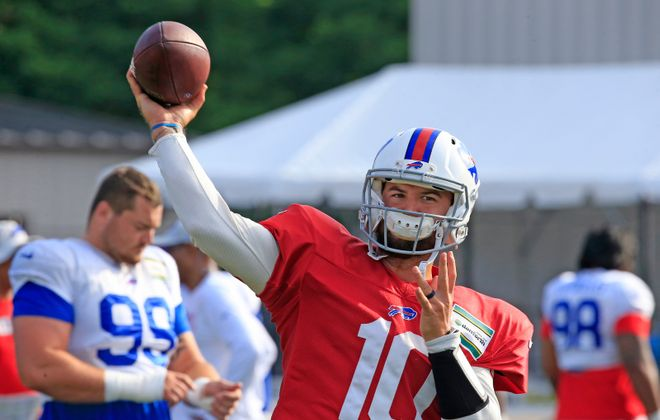 Bills quarterback AJ McCarron is likely to start in the second preseason game against Cleveland. (Harry Scull Jr./Buffalo News)
