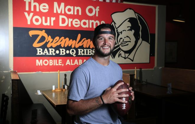 AJ McCarron is pictured at Dreamland Bar-B-Q Ribs on Saturday July 14, 2018. (Harry Scull Jr./ Buffalo News)