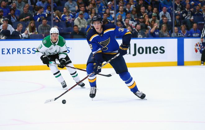ST. LOUIS, MO - OCTOBER 7: Tage Thompson #32 of the St. Louis Blues in action against the Dallas Stars at the Scottrade Center on October 7, 2017 in St. Louis, Missouri.  (Photo by Dilip Vishwanat/Getty Images)