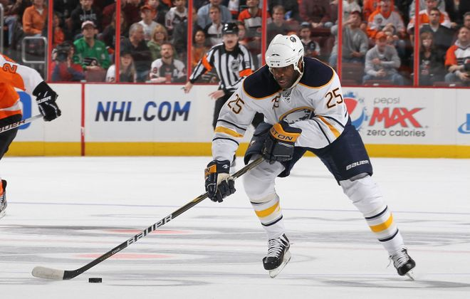 Mike Grier played parts of four seasons with the Sabres. (Getty Images).