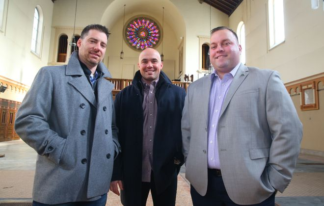 Three Buffalo firefighters Peter Scarcello, Gino Gatti and John Otto,  banded  together  to form a real estate development company focused on South Buffalo, Saint Johns Church, 2315 Seneca Street is one of their acquisition-and-redevelopment projects in Buffalo, N.Y., on  Friday,  Dec. 23, 2016. (John Hickey/Buffalo News)
