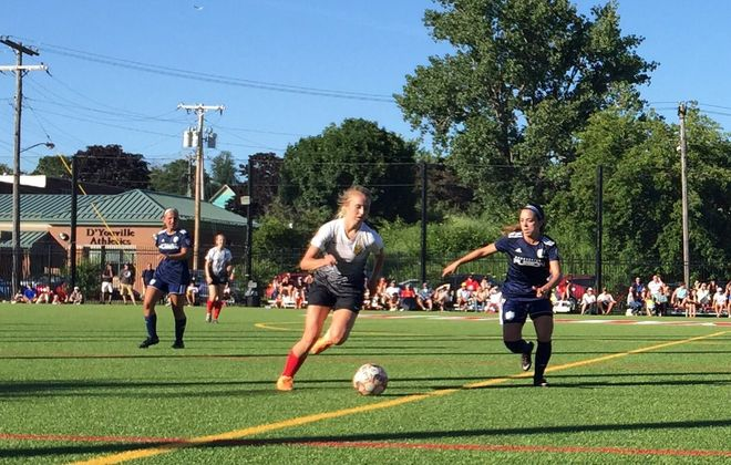 Western New York Flash midfielder Erica Hubert, pictured dribbling against Connecticut, will be an important piece against Rochester. (Ben Tsujimoto/News file photo)