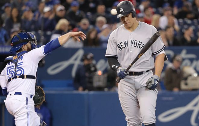 Aaron Judge hits a lot of home runs but spends plenty of time walking back to the dugout after striking out too (Getty Images).