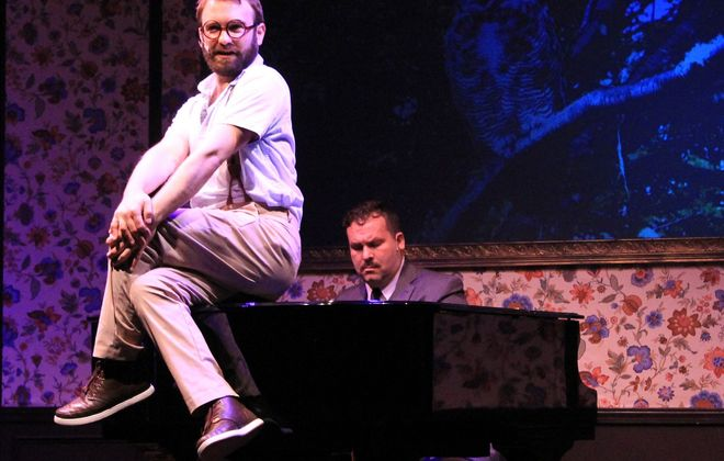 """The talented duo of Joseph Donohue III, on the piano, and Philip Farugia pull out all the stops in """"Murder for Two"""" from MusicalFare Theatre."""