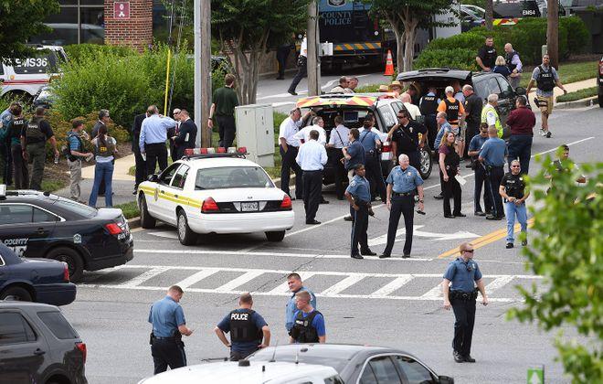The scene outside the shooting at the Capital Gazette newspaper. (Washington Post photo by Matt McClain)