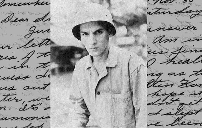 """A 1945 photo of Sgt. Meredith F. """"Buster"""" Keirn, superimposed over his last letter home from North Korea. (Family photos)"""