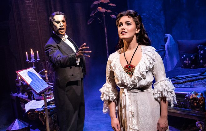 "Quentin Oliver Lee is the Phantom and Eva Tavares is Christine in a touring production of ""The Phantom of the Opera"" at Shea's."