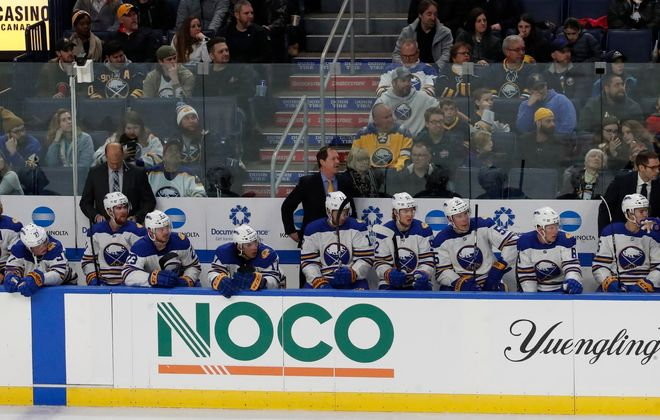 The Sabres have six NHL defensemen and as many as 11 forwards still under contract for next season. (Harry Scull Jr./Buffalo News)