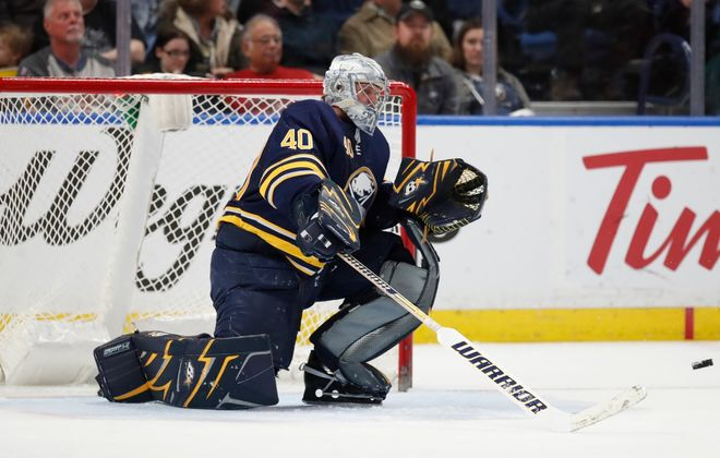 Robin Lehner became a go-to guy in the Sabres' dressing room for media members. (Harry Scull Jr./Buffalo News)