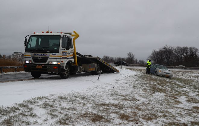 The April ice storm did affect drivers, but it also did not meet expectations set by local weathercasters. (John Hickey/Buffalo News)