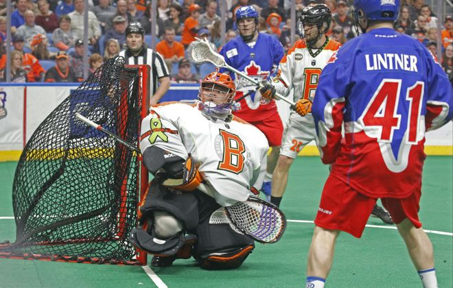 Buffalo goalie Alex Buque misses one as the ball sneaks in behind him against the Toronto Rock last week. (Robert Kirkham/Buffalo News)