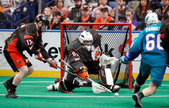Buffalo Bandits goaltender Zach Higgins makes a save against the Rochester Knighthawks during first half action at KeyBank Center on Saturday, April 28, 2018. (Harry Scull Jr./Buffalo News)