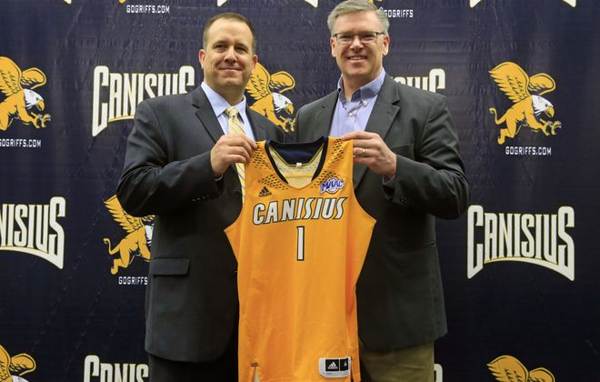 Canisius College Athletic Director Bill Maher introduces Scott Hemer, left, as its new head women's basketball coach, the ninth head coach in program history after serving the last 11 seasons as the head coach at SUNY Geneseo. (Harry Scull Jr./Buffalo News)