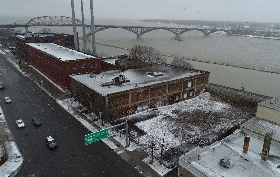 The brownfield property at 990 Niagara St., Buffalo,would be converted into a 10-story apartment building under a plan revealed this week. (Derek Gee/Buffalo News)