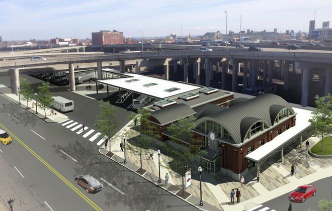 A rendering of the proposed new downtown Buffalo train station at 75 Exchange St.
