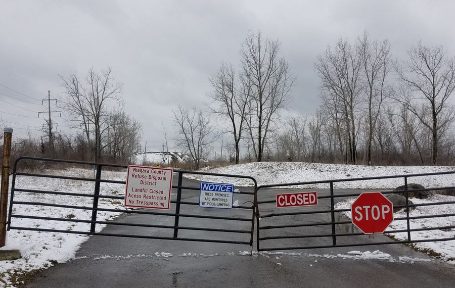 The entrance to the closed Niagara County Refuse Disposal District landfill complex in Lockport on April 17, 2018. (Thomas J. Prohaska/Buffalo News)