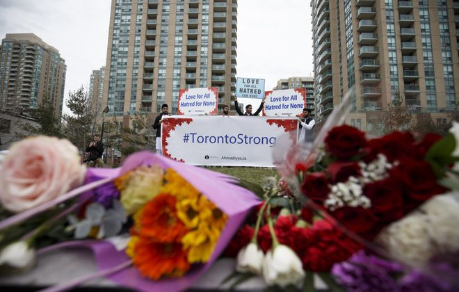 A memorial  on Yonge Street at Finch Avenue on April 24, 2018, in Toronto. (Getty Images)