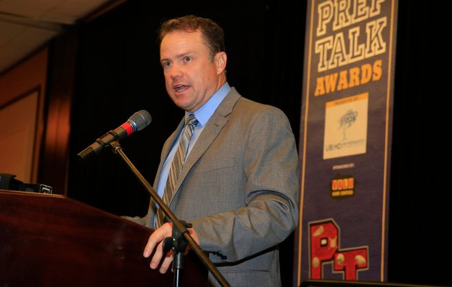 "Steve Tasker, pictured as the keynote speaker at the 2015 PrepTalk Awards, delivers insight prior to debut of ""One Bills Live."" (Harry Scull Jr./News File Photo)"