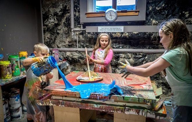 Inside an artist's studio where kids help create