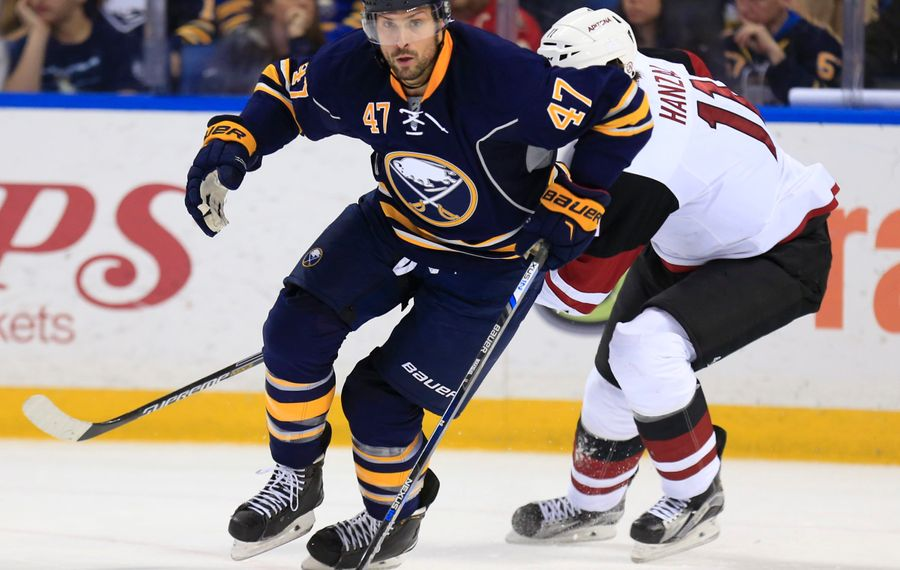 Zach Bogosian is a King Clancy Memorial Trophy nominee. (Harry Scull Jr./News file photo)
