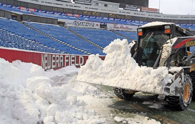 Snow is removed from New Era Field prior to the Buffalo Bills and Indianapolis Colts game on Dec. 10, 2017. (Harry Scull Jr./News file photo)