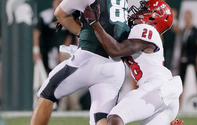 Jacksonville State's  Siran Neal makes a tackle against Michigan State (Duane Burleson/Getty Images)