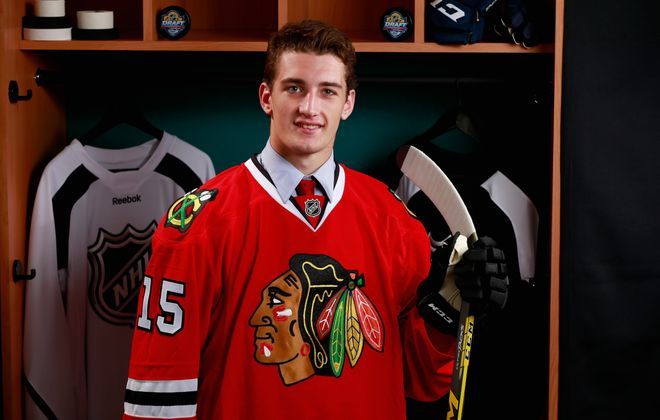 Dennis Gilbert was selected in the third round by the Chicago Blackhawks in 2015 (Jeff Vinnick/NHLI via Getty Images)