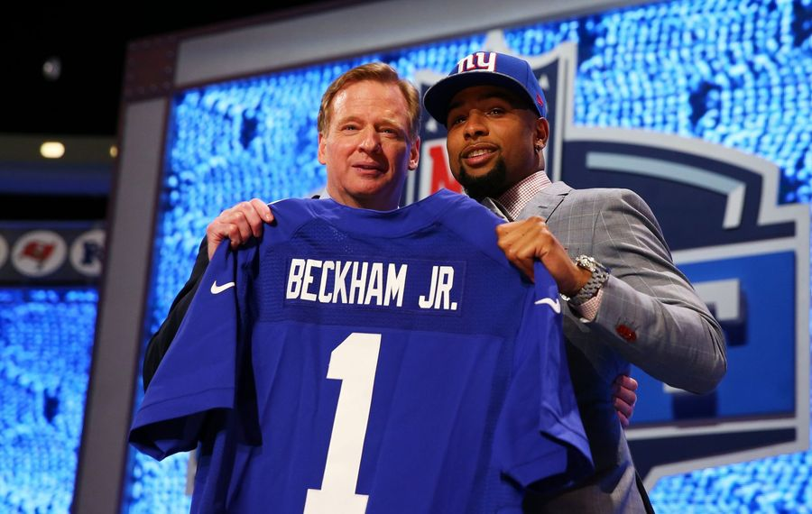 Odell Beckham Jr. of the LSU Tigers poses with NFL Commissioner Roger Goodell after he was picked No. 12 overall by the New York Giants during the first round of the 2014 NFL Draft on May 8, 2014, at Radio City Music Hall in New York City. (Elsa/Getty Images)