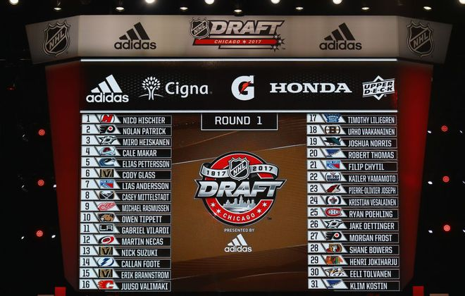 A general view of the first round draft picks board during the 2017 NHL Draft. The 2018 order will be determined tonight. (Getty Images)