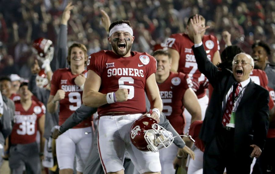 Baker Mayfield of Oklahoma celebrates after Steven Parker scores a defensive touchdown in the 2018 College Football Playoff Semifinal  (Photo by Jeff Gross/Getty Images)