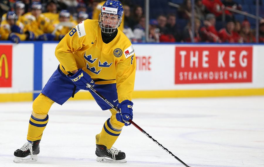 Rasmus Dahlin helped Sweden win the silver medal at the World Junior Championships in Buffalo this season. (Getty Images)