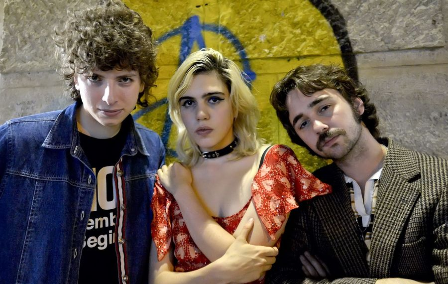 From left, Nick Kivlen, Julia Cumming and Jacob Faber of the rock band Sunflower Bean pose in Vienna. The band returns to Buffalo on May 6. (Herbert Neubauer/AFP/Getty Images)