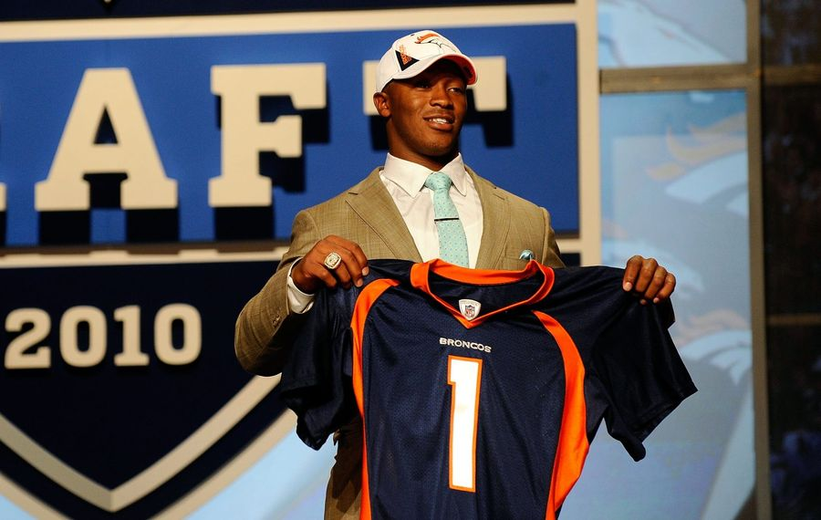 Demaryius Thomas from the Georgia Tech Yellow Jackets holds up a Denver Broncos jersey after he was drafted by the Broncos n No. 22 overall during the the first round of the 2010 NFL Draft on April 22, 2010, at Radio City Music Hall in New York City. (Jeff Zelevansky/Getty Images)