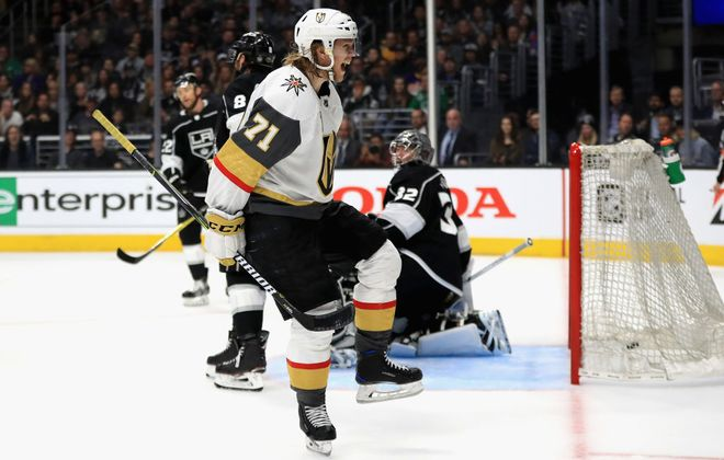 William Karlsson, who morphed from six goals in Columbus to 43 in Vegas, celebrates his goal in Game Three of the first round in Los Angeles. (Getty Images)